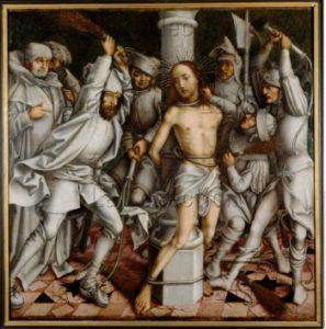 """Hans Holbein l'Ancien. """"Graue Passion"""". La Flagellation du Christ. Vers 1495. Peinture. Stuttgart, Staatsgalerie."""