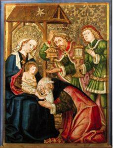 Anonyme allemand. L'Adoration des Mages. Vers 1465. Peinture. Freising. Musée Diocésain.