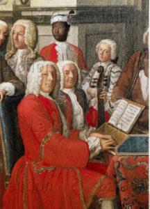 Peter Jakob Horemans. Concert de cour à Ismaning. Détail : claveciniste. 1733. Peinture. Munich. Bayerisches Nationalmuseum.