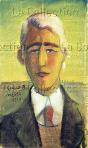 François Jousselin. Portrait de Roland Barthes, sémiologue et écrivain français. Détail. 1975. Dessin. Collection particulière.