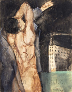 François Jousselin. Ouvrier enfilant sa combinaison de travail. 1967. Peinture. Collection particulière.