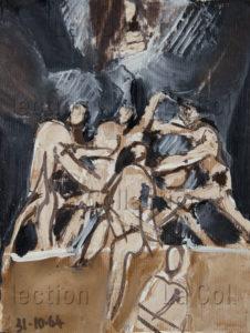 François Jousselin. La bagarre. 1964. Peinture. Collection particulière.