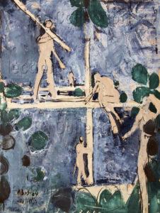 François Jousselin. Les charpentiers. 1964. Peinture. Collection particulière.