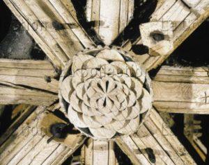 Art Gothique. L'Epau. Abbaye De La Pitié Dieu. Rose à Quarante Pétales De La Charpente. Architecture.