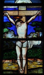 Renaissance. Torcé en Vallée. Eglise Notre Dame. Verrière de La Crucifixion. Détail. 1520. Vitrail.