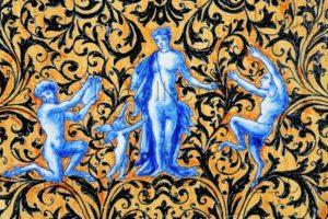 Villarmé, Valentin (décor). Style De Rouen. Plat Exagonal à L'ocre Niellé, Scène Mythologique. Céramique. Malicorne, Espace Faïence.