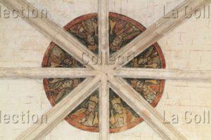 Art Gothique. Le Mans. Hôtel Dieu De Coëffort. Eglise Ste Jeanne D'Arc. Détail : Clé de voûte ornée de fresques. XIIe XIIIe siècle. Architecture.