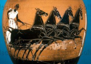 Art Grec. Epoque Classique. Amphore Panathénaïque à Figures Noires. Détail : Aurige Avec Un Quadrige. Vers 410 400 Avt JC. Céramique. Londres, British Museum.