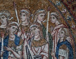 Art Byzantin. Grèce. Monastère De Daphni. La Présentation De La Vierge Au Temple. XIe Siècle. Mosaïque.