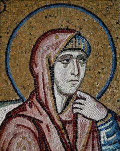 Art Byzantin. Grèce. Monastère De Daphni. La Nativité De La Vierge. Détail : Sainte Anne. XIe Siècle. Mosaïque.