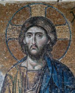 Art Byzantin. Istanbul. Basilique Ste Sophie. Galerie. Loge Impériale. Déisis. Détail : Visage Du Christ. Vers 1261. Mosaïque.