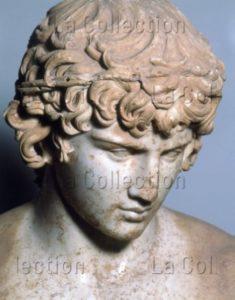 Art Romain. Antinoüs. Détail : Tête. Vers 130. Sculpture. Delphes, Musée Archéologique.
