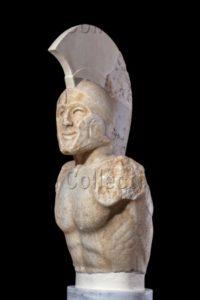 """Art Grec. Epoque Classique. Statue (buste) De Hoplite, Dit """"Léonidas"""" (vue De Trois Quarts Gauche). Vers 480 470 Avt JC. Sculpture. Sparte, Musée Archéologique."""