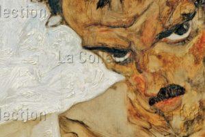 """Schiele, Egon. Autoportrait à La Tête Penchée (étude Pour """"Les Ermites""""). Détail. 1912. Peinture. Vienne, Leopold Museum."""
