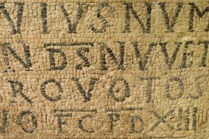 Art Byzantin. Croatie. Porec. Basilique Euphrasienne. Détail : Inscription. VIe Siècle. Mosaïque.