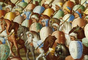 El Escorial. Galerie Des Batailles. Castello, Fabrizio Et Granello, Niccolo. La Bataille De La Higueruela. Détail : Cavalerie Maure. 1587. Peinture Murale.