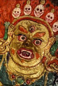 Art Tibétain. Shigatse. Monastère de Tashilumpo. Mahâkâla (Siva). XVIIIe siècle. Peinture murale.