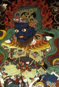 Tibet. Monastère De Drepung. Roi Gardien. Peinture Murale.