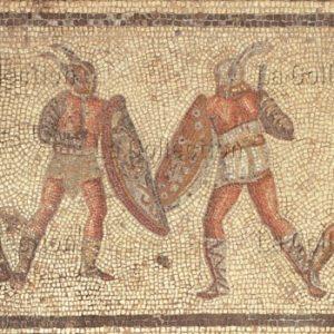 Art Romain. Combat de gladiateurs (secutores). IIIe siècle. Mosaïque. Tripoli (Libye). Musée.