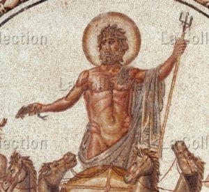 Art Romain. Neptune et les Saisons. Détail : Neptune. 1ère Moitié IIe siècle. Mosaïque. Tunis, Le Bardo, Musée National.