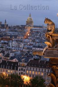 Art Gothique. France. Paris. Cathédrale Notre Dame. Gargouille Avec Vue Sur La Montagne Ste Geneviève Et Le Panthéon. Photographie De Jean Claude N'Diaye.