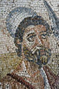 Art Romain. Sicile. Noto. Villa Del Tellaro. La Pesée du cadavre d'Hector. Détail : Ulysse. 2e moitié IVe siècle. Mosaïque.