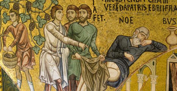 Sicile. Palerme. Palais Des Normands. Chapelle Palatine. L'Ivresse De Noé. Milieu Du XIIe Siècle. Mosaïque.