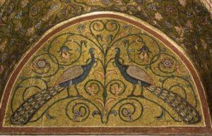 Sicile. Palerme. Palais des Normands. Salle Roger II. Deux paons. Milieu XIIe siècle. Mosaïque.