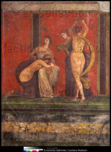 Art Romain. Pompéi. Villa des Mystères. Salle 5. IIe style pompéien. La Flagellation de la jeune fille. Vers 70 60 avt JC. Peinture murale.