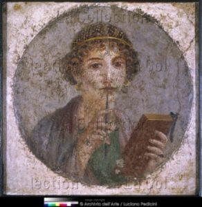Art Romain. IVe style pompéien. Portrait d'une jeune femme, dit Sappho. Vers 45 79. Peinture Murale. Naples. Museo Archeologico Nazionale.