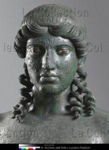 Art Romain. Apollon Citharède. Détail : tête (vue De Face). Milieu Ier siècle avant JC. Sculpture. Naples, Museo Archeologico Nazionale.