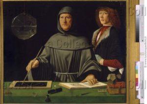 Jacopo De' Barbari. Portrait de Luca Pacioli avec Guidobaldo de Montefeltre. 1495. Peinture. Naples, Museo Nazionale Di Capodimonte.