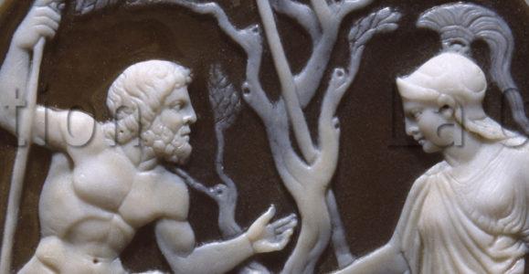 Art hellénistique. Pyrgotélès (attribué à). Lutte entre Poséidon et Athéna pour la domination de l'Attique. Vers 60 40 avt JC. Objet d'art. Naples, Museo Archeologico Nazionale.