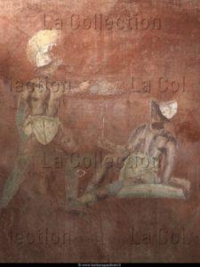 Art Romain. Italie. Pompéi. Porte du Vésuve (Porta Vesuvio). Tombe de Caius Vestorius Priscus. Détail : gladiateurs. Vers 76 75 avt JC. Peinture murale.