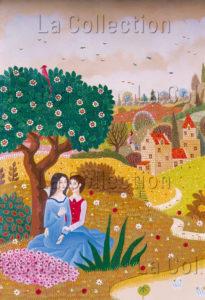 Alain Thomas. Jeune couple près d'une mare. 1975. Peinture. Collection particulière.