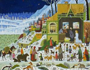 Alain Thomas. Triptyque de la Nativité du Christ. Panneau central. Détail : la Crèche. 2004. Peinture. Nantes, Cathédrale Saint-Pierre-Saint-Paul.