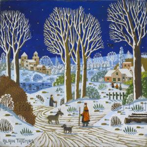 Alain Thomas. Neige nocturne au lac. 2017. Peinture. Collection particulière.