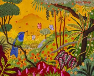 Alain Thomas. Colibri à tête bleue. 2017. Peinture. Collection particulière.