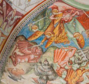 Art Gothique. Subiaco. Monastère Ste Scholastique. Eglise. Chapelle des anges. Détail : les cohortes des anges Chassant les démons. 1426. Peinture murale.