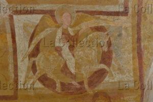 France. Auxerre. Cathédrale St-Etienne. Crypte. Ange cavalier. Peinture murale.