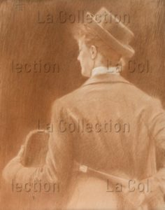 """Khnopff, Fernand. Une Joueuse De Tennis: étude Pour """"Memories"""". 1889. Dessin. Collection Particulière."""