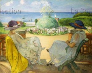 Lebasque, Henri. Deux Jeunes Femmes Sur Une Terrasse En Bord De Mer. 1922. Peinture. Collection Particulière.