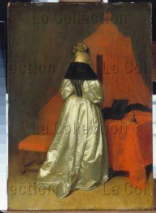 Borch, Gerard Ter Ou Netscher, Caspar (attribué à). Femme En Robe De Satin Blanc Devant Un Lit Aux Rideaux Rouges. Vers 1655. Peinture. Dresde, Gemäldegalerie, Alte Meister.