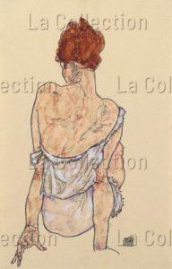 Schiele, Egon. Sitzende In Unterwäsche, Rückenansicht (Assise En Sous Vêtement, Vue De Dos). 1917. Dessin. Collection Particulière.