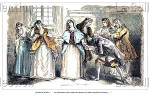 """France. Littérature. """"La Belle et la Bête"""" (Mme Leprince de Beaumont). La Belle quitte sa famille pour rejoindre la Bête. 1900. Gravure. Collection particulière."""