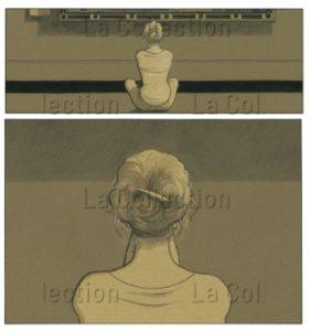 """""""Un Enchantement"""". La Femme, Assise De Dos, Dans Le Musée Du Louvre. De Christian Durieux. Futuropolis Et Musée Du Louvre éditions, 2011, P. 14."""