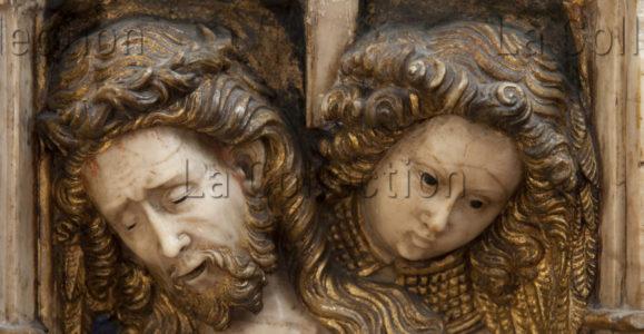 Art gothique. Espagne. Vic. Cathédrale Sant Pere. Retable de l'autel majeur. Oller, Pere. Détail : Christ de Douleur. Tête du Christ avec un ange. 1420 1428. Sculpture.