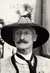 Hubmann, Franz. Portrait D'un Vieux Fantassin Tyrolien Avec Moustache Et Chapeau Traditionnel. Vers 1950. Photographie. Collection Particulière.