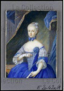 Portrait de Marie Antoinette de Habsbourg Lorraine, archiduchesse d'Autriche, future Dauphine et reine de France, enfant. Vers 1767. Peinture. Vienne, Österreichische Nationalbibliothek.