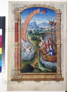Complainte de Marguerite d'Autriche. Paysage avec deux navires transportant Marguerite d'Autriche avec trois autres personnages et une nymphe. XVI siècle. Miniature. Vienne, Österreichische Nationalbibliothek.